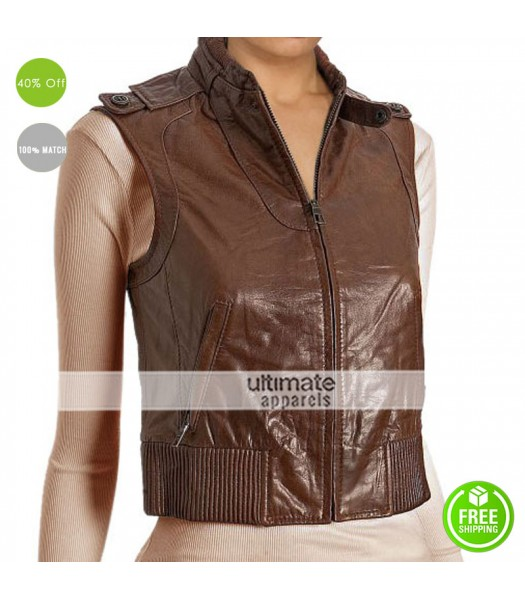 Designers Women Brown Leather Bomber Vest