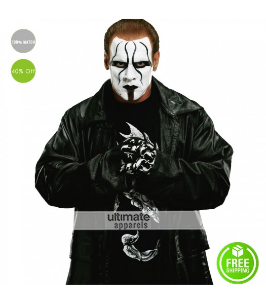 Sting Returns 2015 WWE Long Black Leather Coat
