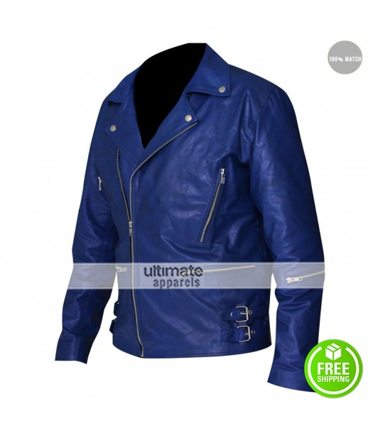 30 Seconds to Mars Jared Leto Blue Leather Jacket