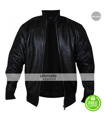 David Beckham Black Bomber Leather Jacket