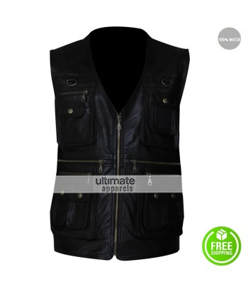 Men's 4 Pocket Zipper Leather Vest