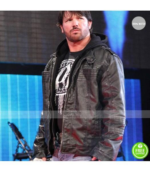 AJ Styles WWE Black Hooded Leather Jacket