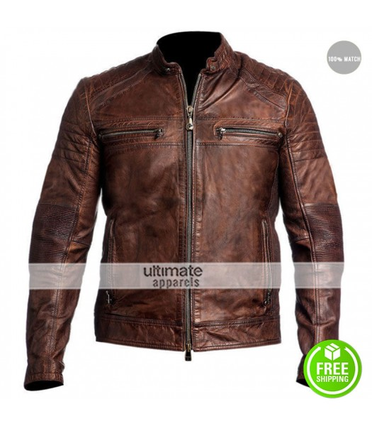 Cafe Racer 2016 Biker Brown Leather Jacket