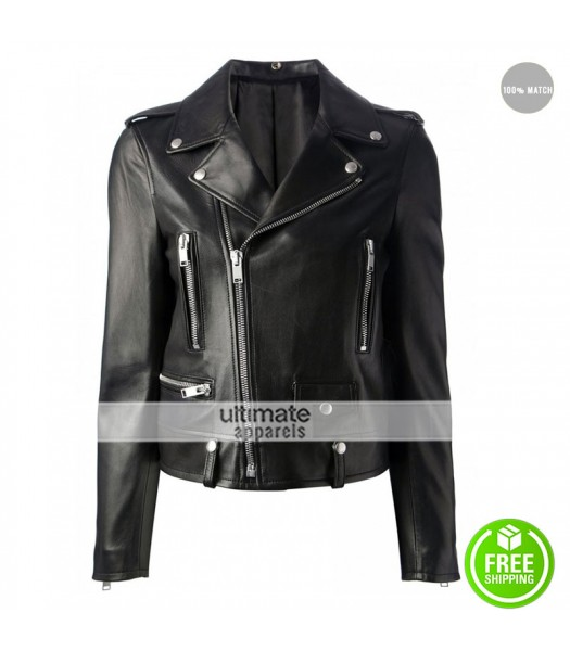 Mariah Carey Black Biker Style Leather Jacket