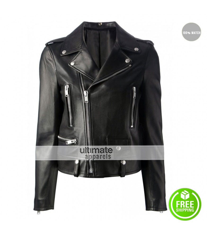 Mariah Carey Black Biker Style Leather Jacket