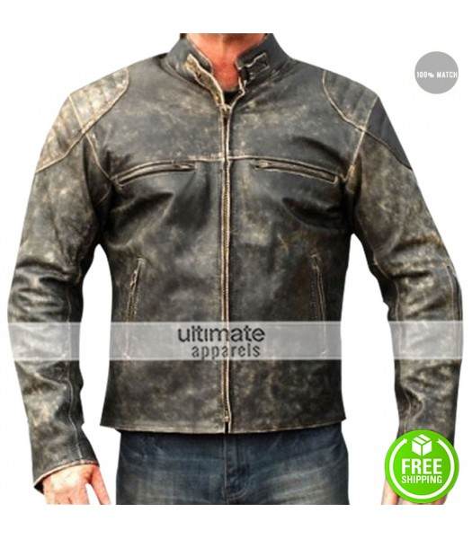 Antique Men's Hooligan Distressed Retro Leather Jacket