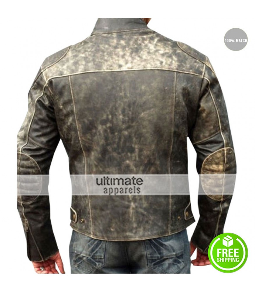 305b5a44b688 Antique Men's Vintage Distressed Retro Motorcycle Jacket