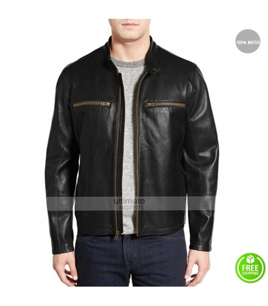 Men's Cole Haan Lambskin Black Moto Jacket