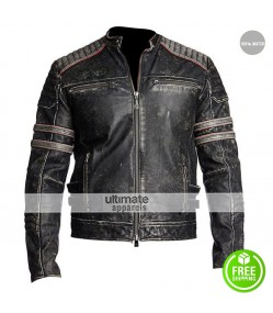Mens Antique Black Distressed Motorbike MC Jacket