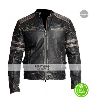 Mens Antique Black Distressed Motorbike MC Jacket