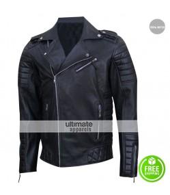 Prestige Homme MR18 Black Biker Quilted Jacket