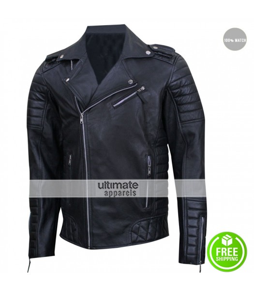 Prestige Homme MR18 Black Biker Quilted Jacket