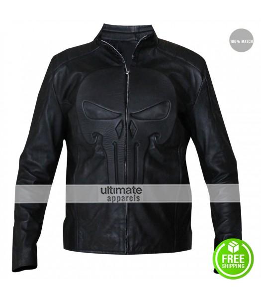Punisher Black Skull Cosplay Biker Leather Jacket