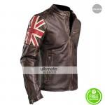 UK Flag Vintage Mens Motorcycle Cafe Racer Jacket