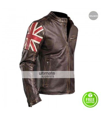 UK Flag Vintage Mens Motorcycle Cafe Racer Jacket