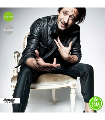 Adrien Brody GQ Black Stylish Leather Jacket