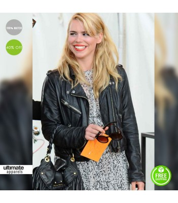 Billie Piper Black Biker Leather Jacket