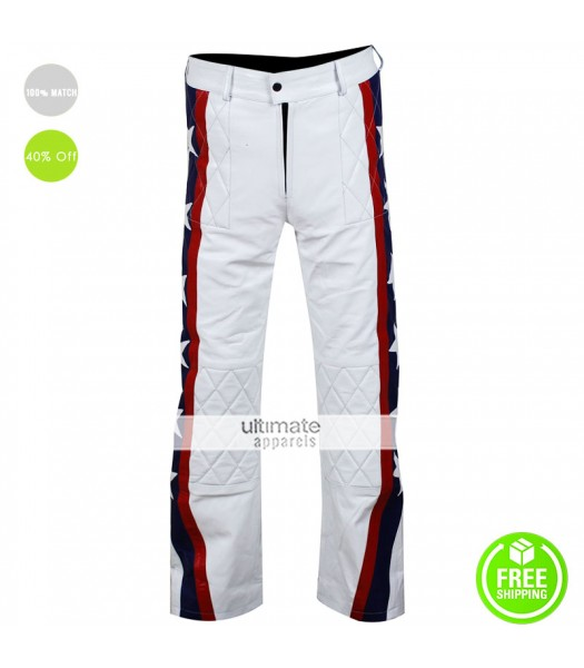 Leather Pants From Evel Knievel Motorcycle White Costume