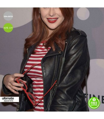 Renee Olstead 2016 Black Leather Jacket