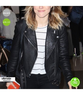 Sophia Bush Los Angeles Airport Black Leather Jacket