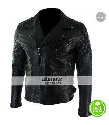Mens Cross Zip Biker Black Retro Quilted Jacket