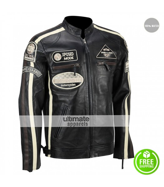 XPOSED CLASSIC Urban Retro Slim Fit Racing Jacket