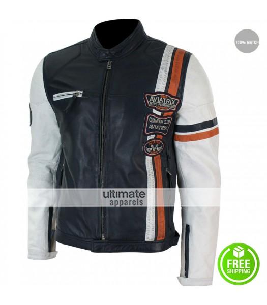 Aviatrix Retro Navy Blue White Casual Biker Jacket
