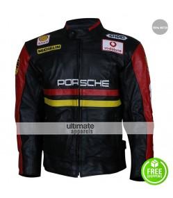 Porsche 930 Turbo Black Leather Jacket Patches