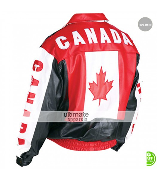 Canadian Flag Bomber Biker Leather Jacket