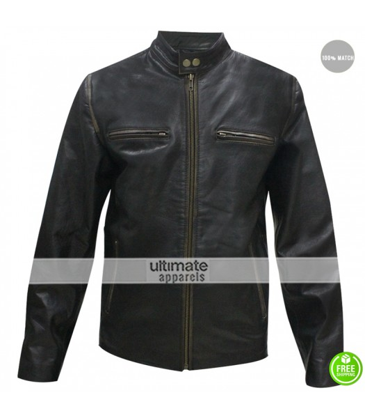 CHICAGO-FASHIONS Mark Wahlberg Daddys Home Distressed Black Leather Jacket