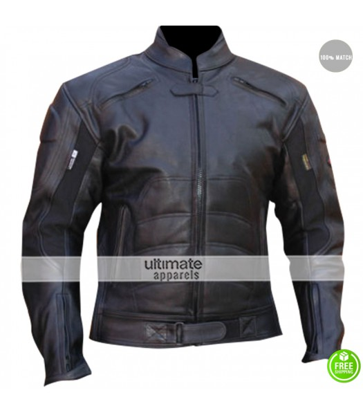 GP Batman Armor Motorcycle Black Leather Jacket