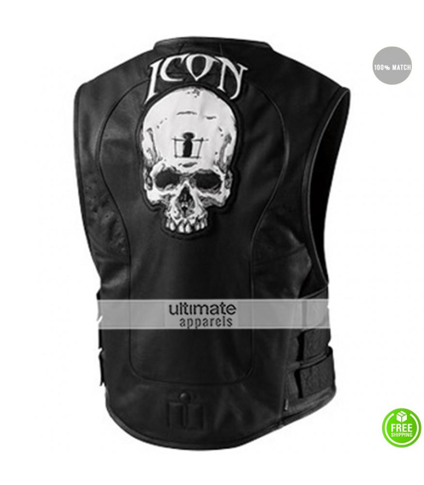 Icon Regulator Skull Leather Motorcycle Vest