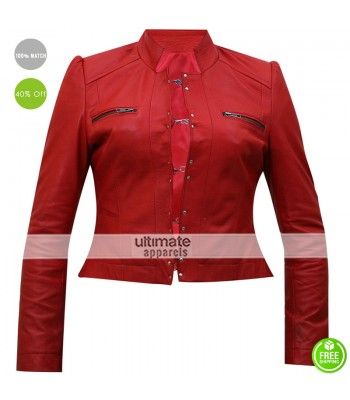 WWE Diva Aksana Red Dress Leather Jacket