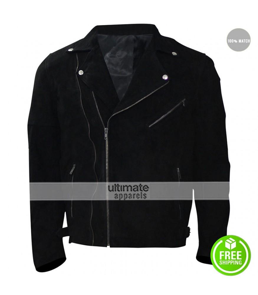 Baby Driver Jon Hamm Buddy Black Leather Jacket