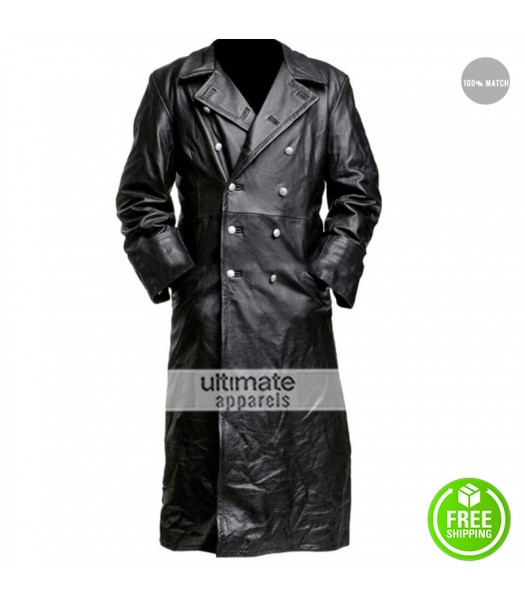 German Classic Enforcement Officer Black Leather Trench Coat