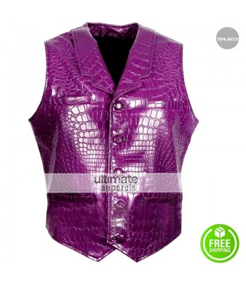 Suicide Squad Jared Leto Joker Purple Crocodile Texture Vest