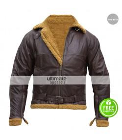 B3 Ginger Aviator Shearling Sheepskin Bomber Jacket