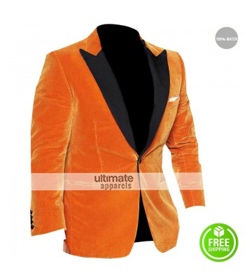 Kingsman The Golden Circle Taron Egerton Orange Velvet Tuxedo