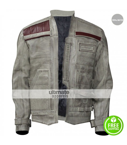 Star Wars The Force Awakens John Boyega Distressed Leather Jacket
