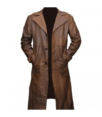 Batman vs Superman Jackson Distressed Brown Winter Leather Coat