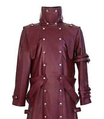 Trigun Badlands Rumble Vash The Stampede Costume Maroon Leather Trench Coat