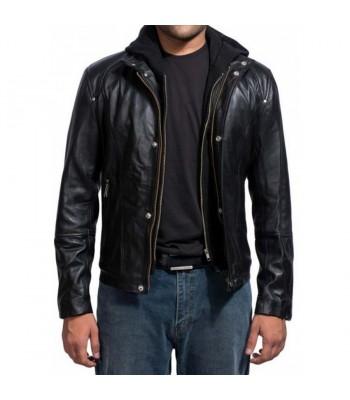 Paul Walker Black Hoodie Leather Jacket