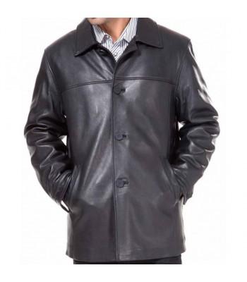 Mens Ramonti Lambskin Car Black Leather Coat
