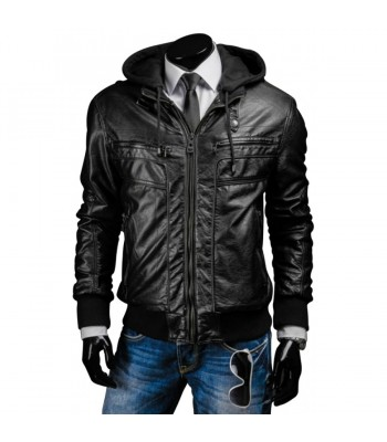 Men's Slim Fit Hooded Black Leather Jacket