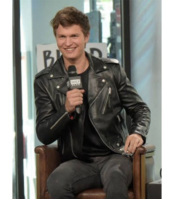 Ansel Elgort Black Baby Driver Motorcycle Leather Jacket