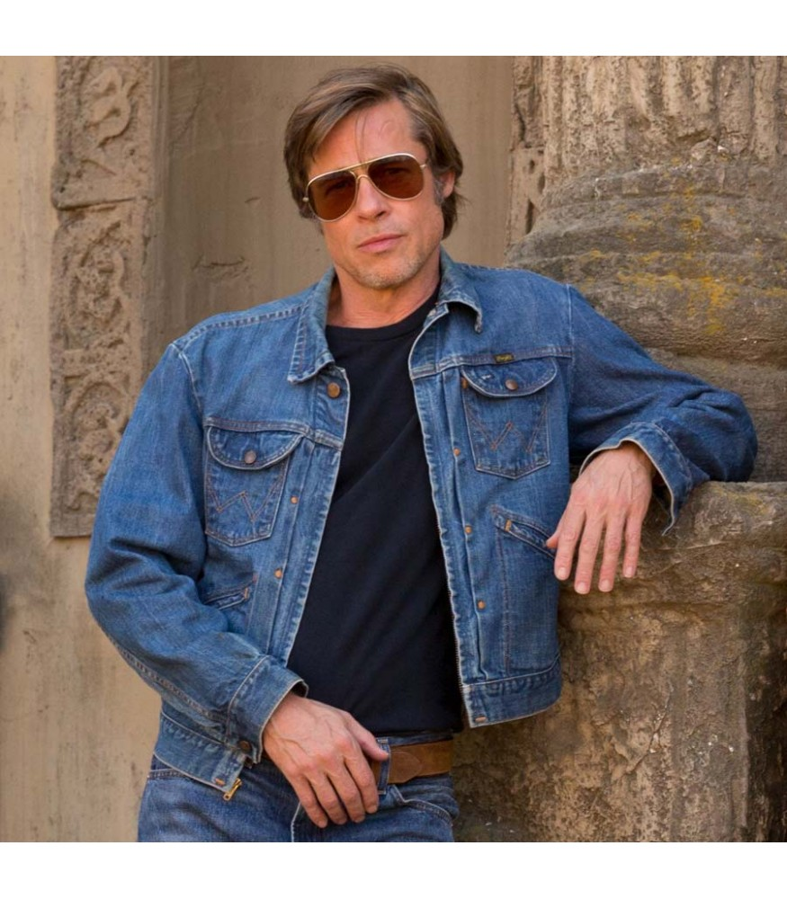 Once Upon a Time in Hollywood Brad Pitt Cliff Booth Blue Denim Jacket