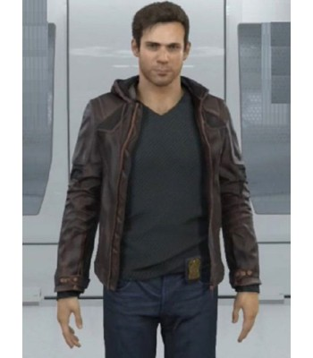 Detroit Become Human Gavin Reed Brown Leather Hooded Jacket