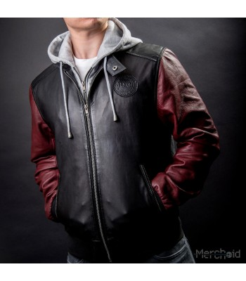 JUSTICE LEAGUE MOVIE THE FLASH LEATHER HOODED JACKET