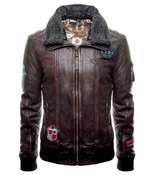 Justice League Unite The League Brown Fur Collar Bomber Leather Jacket