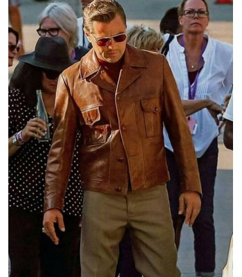 Once Upon a Time in Hollywood Leonardo DiCaprio Rick Dalton Brown Leather Jacket